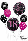 Black and Pink 18th Birthday Balloon Bouquet Adult Party Decorations