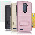 Shockproof Rugged Case Kickstand Cover+Tempered Glass Film For ZTE Zmax Pro Z981