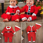 USA Christmas Newborn Baby Boys Girls Santa Claus Rompers Hat 2Pcs Outfits 0-24M
