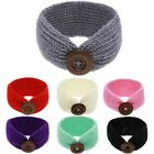 Womens Knitted Wood Button Stretch Bandeau Turban Elastic Hair Band Headband