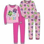 Girls Shopkins Color Me Happy Pajamas, 2 pk 4 pc Set