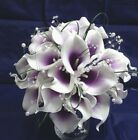 Wedding Flowers - White & Purple Calla Wedding Package with Pearls & Diamantes