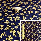 JAPANESE GOLD NAVY Meter/Squares Cotton Fabric Oriental Kimono Cherry Blossom