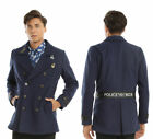 BBC Doctor Who TARDIS Police Call Box Navy Peacoat Military Style Coat Jacket