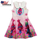 Lovely Girls Poppy Trolls Sleeveless Party Holiday Birthday Kids Dresses O41 image