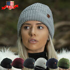 Crochet Knitted Chunky Beanie With Inner Sherpa Lining Fleece Ski Hat
