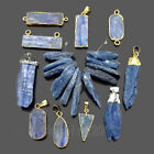 Natural Blue Kyanite Gemstone Crystal Point Silver Gold Pendant Connector Beads