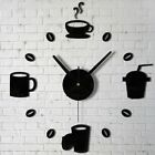 DIY Coffee Tea Clock 3D Acrylic Mirror Wall Sticker Mural Decals Art Home Decor
