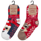 Xmas Gift Girls Boys 2 Pack Cosy Socks With Grippers Christmas Novelty Present
