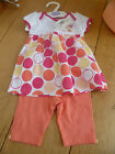 MARKS AND SPENCERS 100% COTTON PINK WHITE SPOT DRESS LEGGINGS EMBROIDERED CAT
