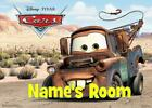 CARS MATER disney PERSONALISED DOOR PLAQUE - 3 TYPES ACRYLIC/LAMINATE/WOODEN