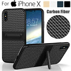 For iPhone X Carbon Fiber Hybrid Hard Case Cover Kickstand Shockproof Dual Layer