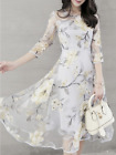 7Floral Printed Hollow Out Chiffon Round Neck Skater Dress
