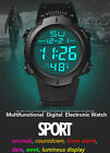 Mens Boys Fashion Waterproof LCD Digital Stopwatch Date Rubber Sport Wrist Watch