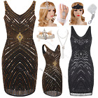Black 1920s Flapper Dress Gatsby Fringe Ladies 20s Party Costume Size 8 10 12 14