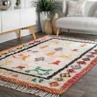 nuLOOM NEW Hand Made Tribal Plush Shag Wool Blend Area Rug in Ivory Multi