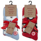 Ladies Xmas Gift Warm Cosy Lounge Slipper Socks Grippers Snowman Penguin 2 Pack