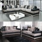 Kudos Fabric Black & Grey Corner Sofa LHF RHF 3 + 2 Seater Set Portobello Cord
