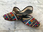 Womens Khussa Indian Ethnic Black Juti Pakistan Sandal Real Leather Khusa Mojari