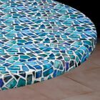 Vinyl Fitted Table Cover SEA GLASS Elasticized Square SM MED LG Rd Oval Oblong