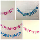 PERSONALISED CHILDS BIRTHDAY BANNER. NAME AND AGE BLUES OR PINKS. CUSTOM BESPOKE