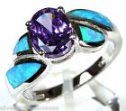 Purple Amethyst & Blue Fire Opal Inlay Solid 925 Sterling Silver Ring size 6789