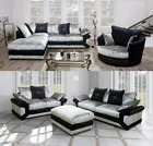NEW Vegas Luxury Crushed Velvet 3+2 Seater Corner Sofa LH RH Black & Silver