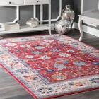 nuLOOM NEW Traditional Vintage Floral Area Rug in Red, Gray, Blue Multi