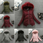 Hot Winter Women's Fashion Parka Short Fur Collar Hooded Coat Quilted Jacket New
