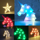 NEW Unicorn Star Moon LED Night Light Wall Lamp Baby Kids Bedroom Home Decor UK
