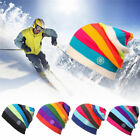 SNSUSK  Rainbow Winter Knitted Hats Outdoor Sport Skiing Chapeu Cap Clothing