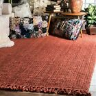 nuLOOM Hand Made Chunky Loop Natural Jute Area Rug in Terra Burnt Orange