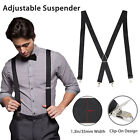 Mens Black X-Back Clip-on Suspenders Adjustable Elastic Retro Formal Braces Tux
