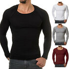 Fashion Men Long Sleeve T-shirt Cotton Base Slim Fit Muscle Top Plain Tee Blouse