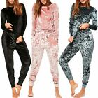 Ladies Joggers Lougesuit Womens Crushed Velvet Velour Loungewear Full Tracksuit