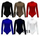 Womens Long Sleeve Polo Turtle Neck Bodysuit Top Ladies Leotard T-Shirt 8-14