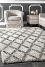 nuLOOM NEW Contemporary Geometric Diamond Plush Shag Area Rug in Ivory