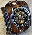 Steampunk Leather Wrist Watch, Skeleton Men's watch, Brown Leather Watch Cuff,