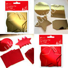 PK of 12 Christmas Gift Tags Luxury Foil 4 Xmas Shapes with Thread GOLD OR RED