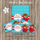 PUPPY PRESENT BLUE CHRISTMAS PERSONALISED CHOCOLATE WRAPPERS X 10