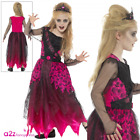 Girls Deluxe Gothic Prom Queen Pink & Black Kids Halloween Fancy Dress Costume