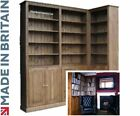 Solid Wooden Corner Unit, Bookcase, 8ft Tall Display Bookshelves with Cupboards