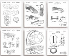 FOOTBALL Patent Prints - Set of 6 - Unique quirky GIFT for Football Fans
