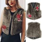 Women Winter Fashion Sleeveless Floral Embroidery Short Faux Fur Vest ESY1 01