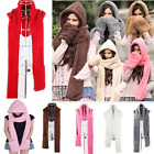Trendy Hoodie Long Scarf Hat Gloves Three-in-one Design Warm Shawl Snood Wraps