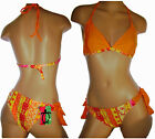 Women Bikini Set, Banded Triangle Top/ Wide Tie Sides, Exotic Print, Lycra Lined