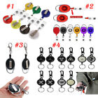 Retractable Extendable Wire Key-Ring Chain ID Badge Holder Carabiner Belt Clip