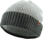 Cuffed Two Tone Ribbed Beanie Winter Knit Ski Hat Skully