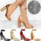 Womens Ladies Diamante Block High Heels Sandals Lace Up Perspex Strap Shoes Size