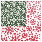 Christmas Polycotton Fabric Festive Snowflakes Green and White or Red and White